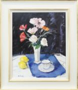 Lot 8 - STILL LIFE, AN OIL ON CANVAS BY ROBERT KELSEY