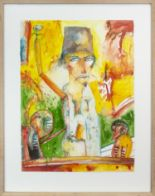 Lot 15 - THE MAGICIAN, AN OUTSTANDING WATERCOLOUR ON PAPER BY JOHN BELLANY