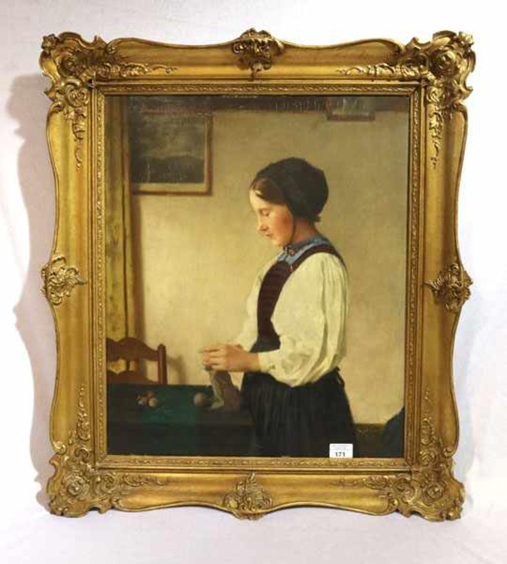 Los 171 - Gemälde ÖL/Holz 'Die Strickerin', signiert C. (Carl) Blos, * 1860 Mannheim + 1941 München,
