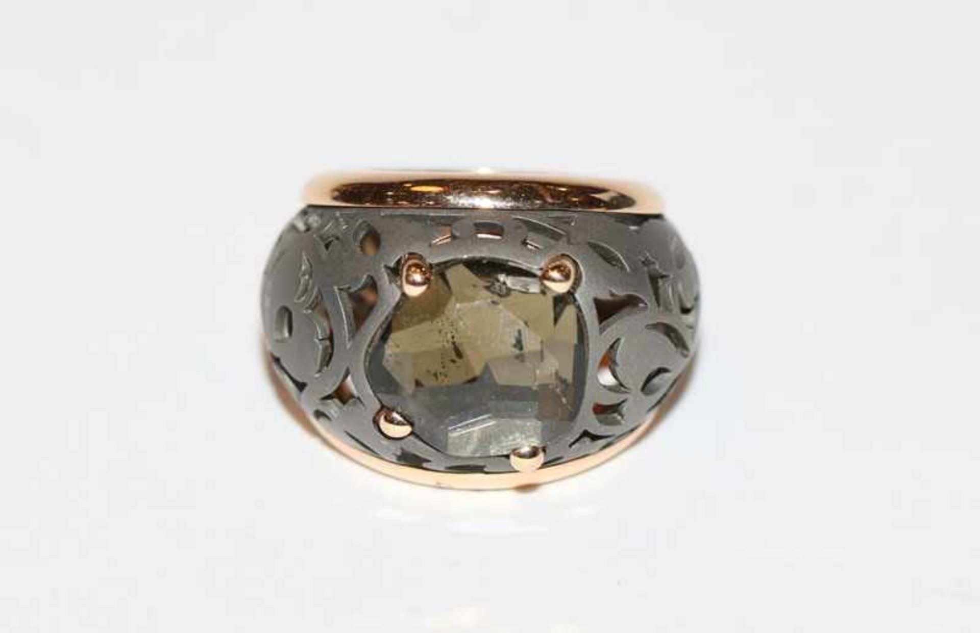 Los 79 - Titan/Roségold Ring mit Rauchtopas, Kollektion Arabesque noir, Victoria Ring, Gr. 55