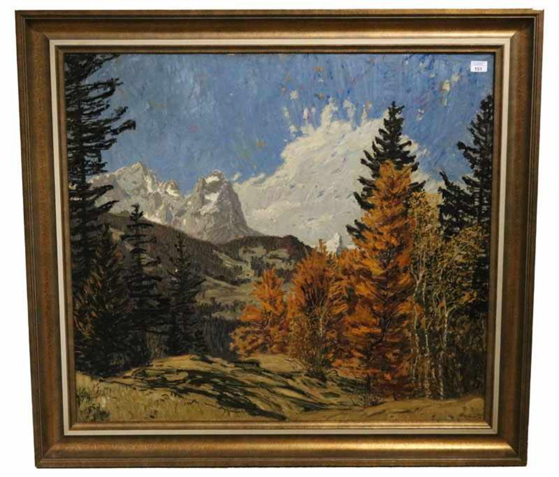 Los 151 - Gemälde ÖL/LW 'Blick auf Zugspitzgruppe', signiert Bauriedel, Otto, * 1881 München + 1961,