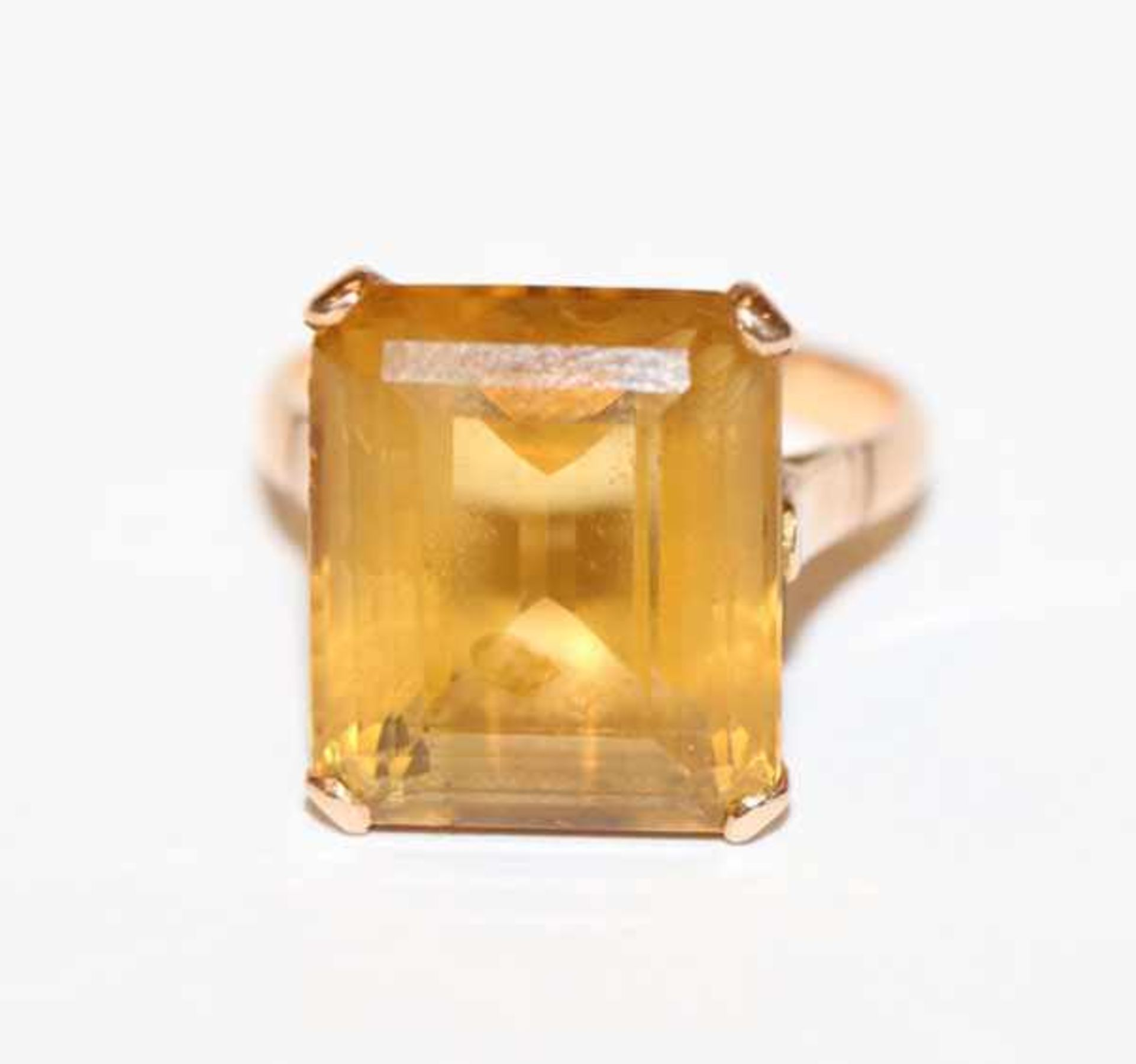 Los 52 - 14 k Gelbgold (geprüft) Ring mit Topas, Gr. 52, 5,6 gr.