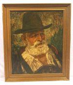 Gemälde ÖL/ Malkarton 'Herrenportrait in Tracht', signiert G. (Gisbert) Palmie, * 1897 München +