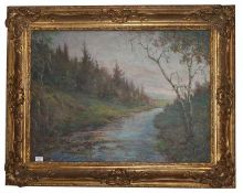 Gemälde ÖL/LW 'Landschafts-Szenerie mit Bachlauf', kyrillisch signiert, datiert 47, stilvoll