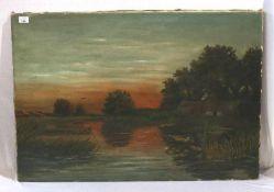 Gemälde ÖL/LW 'Reetdachhaus am Flußlauf bei Sonnenuntergang', rückseitig bez. F. Steger, LW teils