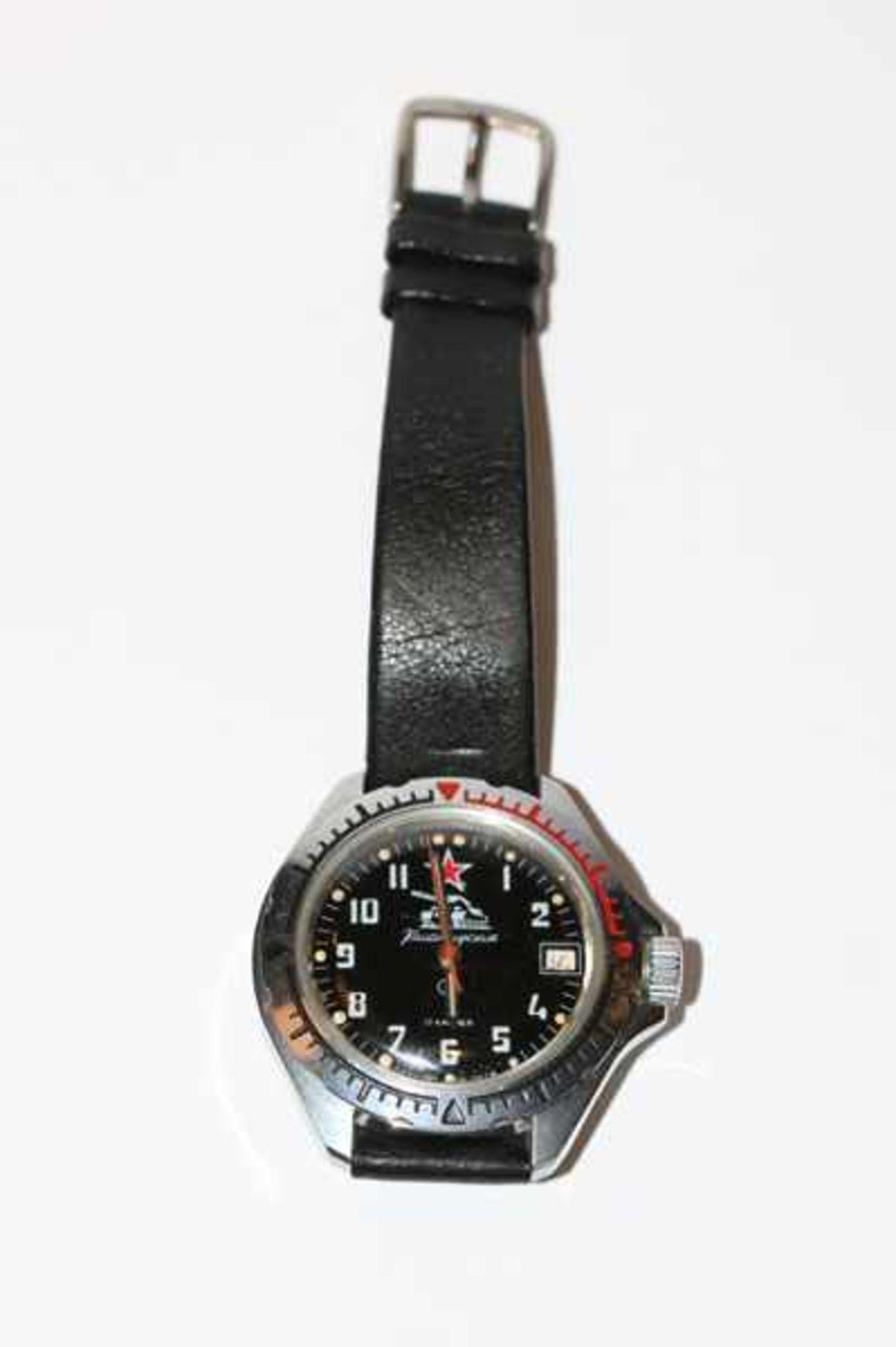 Los 45 - Armbanduhr, Replik einer russischen Panzeruhr ?, an schwarzem Armband, ungeprüft
