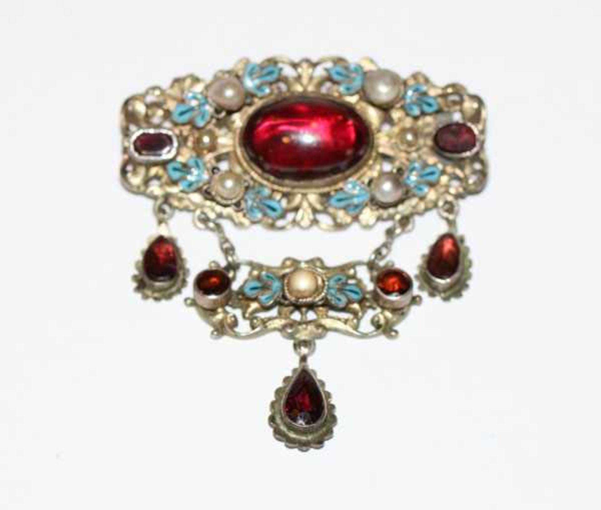 Dekorative Silber Brosche mit blau emailliertem Blattdekor, Perlen und Farbsteinen ?, 19.