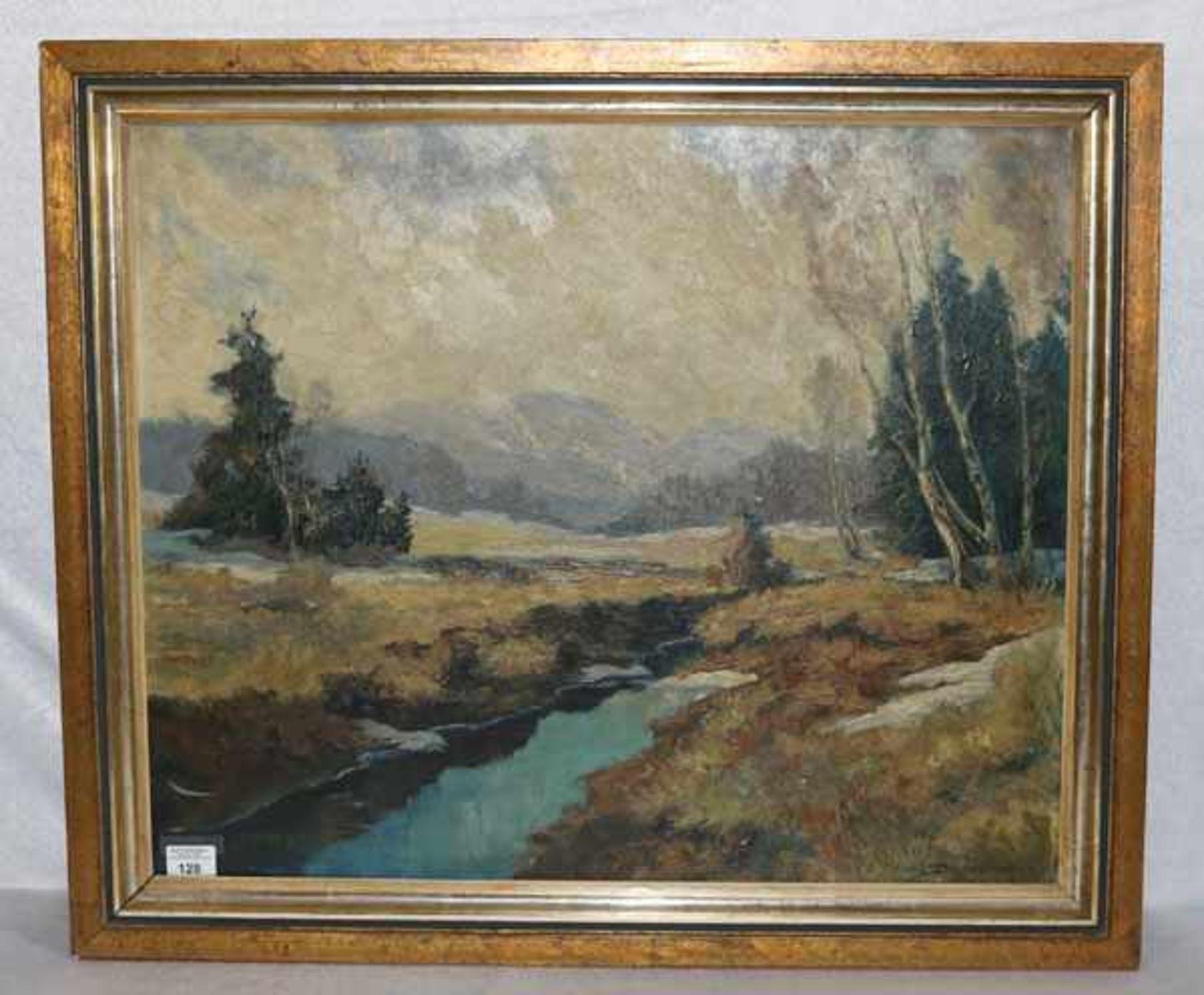 Los 128 - Gemälde ÖL/Hartfaser 'Benediktenwand im März', signiert Diefenbach ?, gerahmt, Rahmen bestossen,