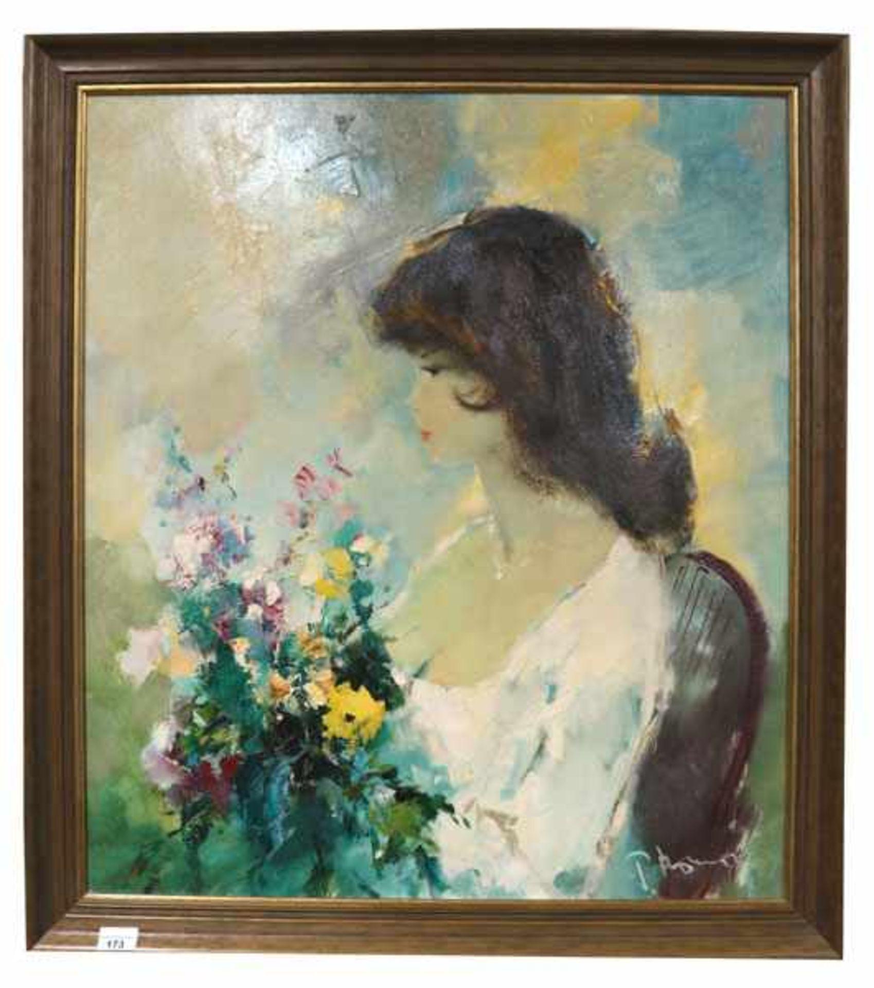 Los 173 - Gemälde ÖL/LW 'Mädchen mit Blumen', signiert P. Morrò, * 1925 Leipzig + 2013, (Ingfried Henze),