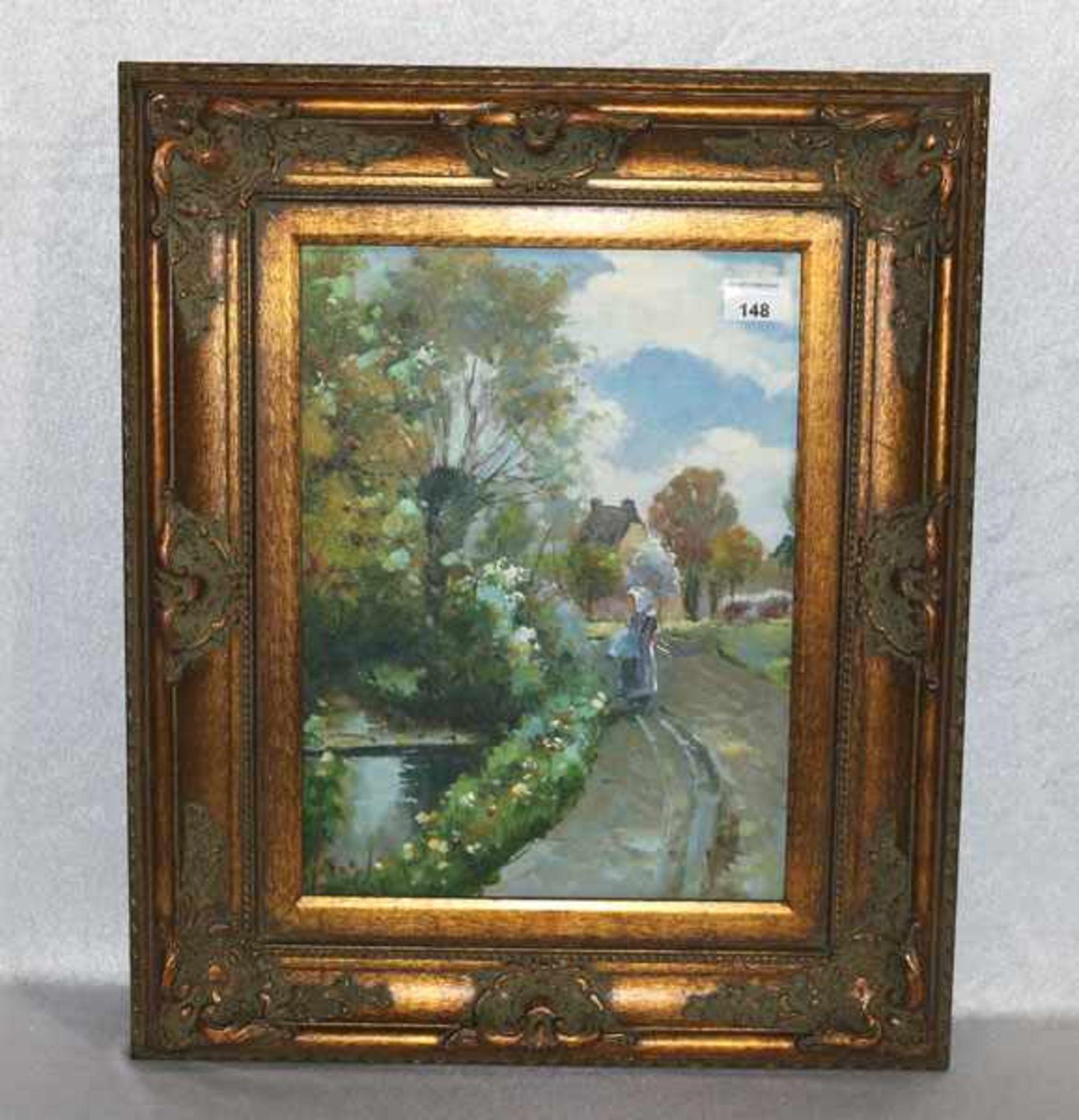 Los 148 - Gemälde ÖL/LW 'Landschafts-Szenerie im Frühling mit Mädchen', gerahmt, incl. Rahmen 60 cm x 50 cm