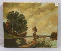 Gemälde ÖL/LW 'Gewässer in Voralpenlandschaft', undeutlich signiert, ohne Rahmen, 50 cm x 61 cm
