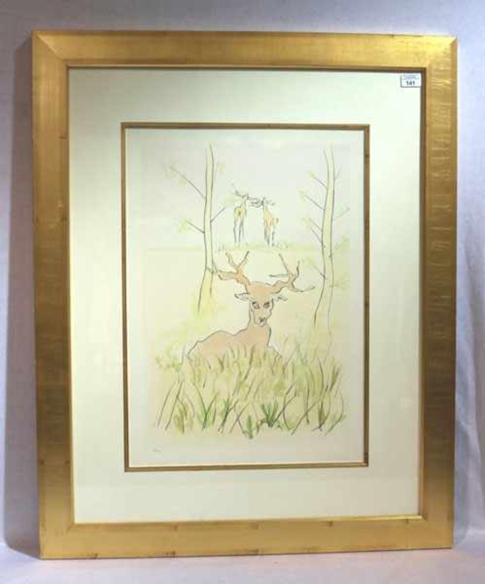 Los 141 - Grafik 'Hirsch', in der Platte signiert Dali, Nr. 96/500, mit Passepartout unter Glas gerahmt,