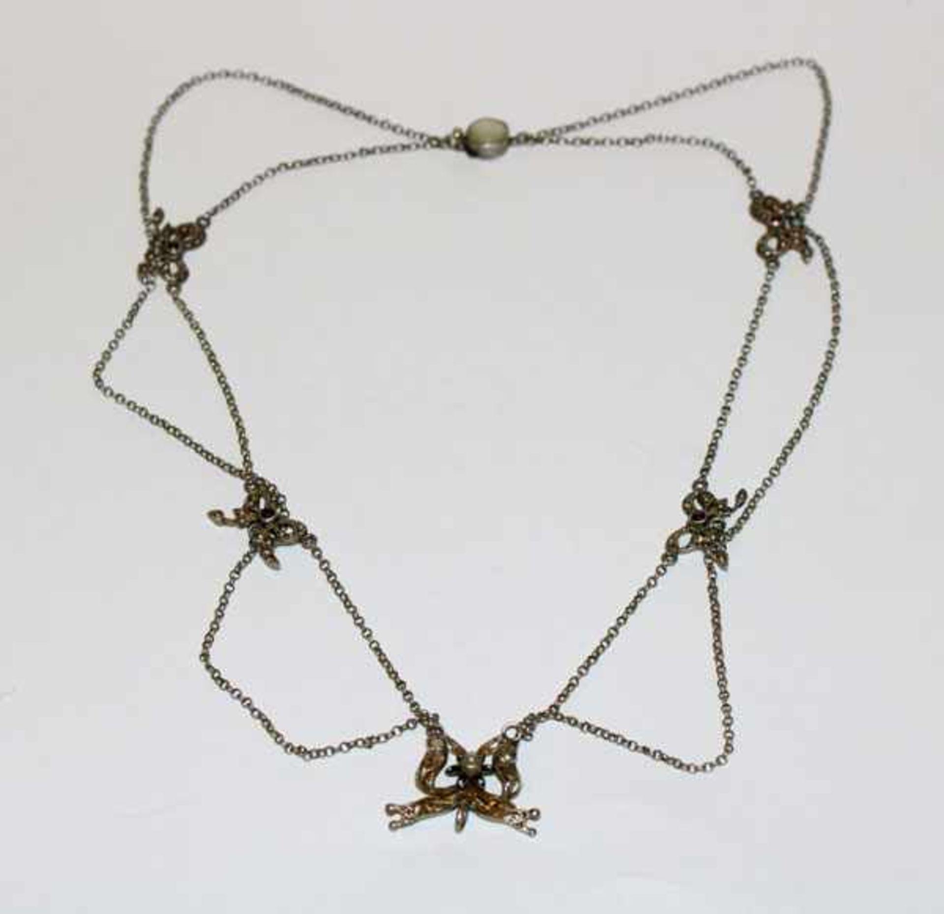 Los 38 - Silber Collierkette, 2-reihig, um 1900, schöne Handarbeit, L 42 cm