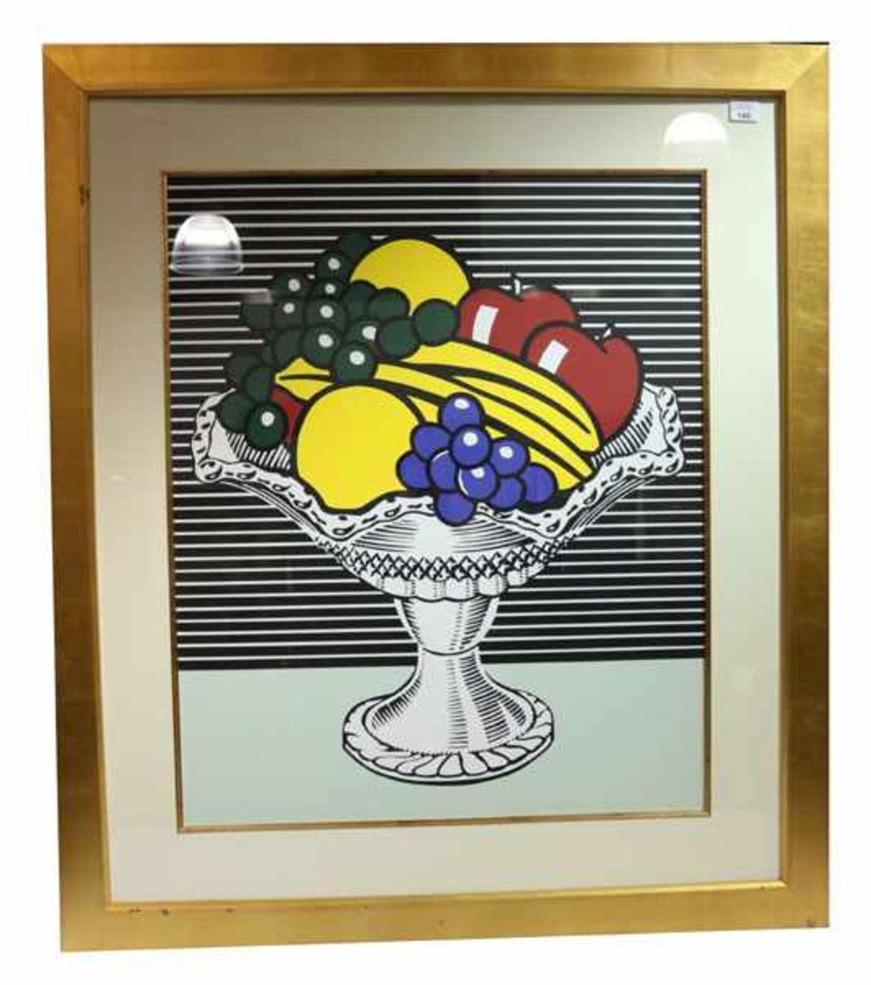 Los 140 - Grafik 'Fruitbasket', nach Roy Lichtenstein, mit Passepartout unter Glas gerahmt, Rahmen