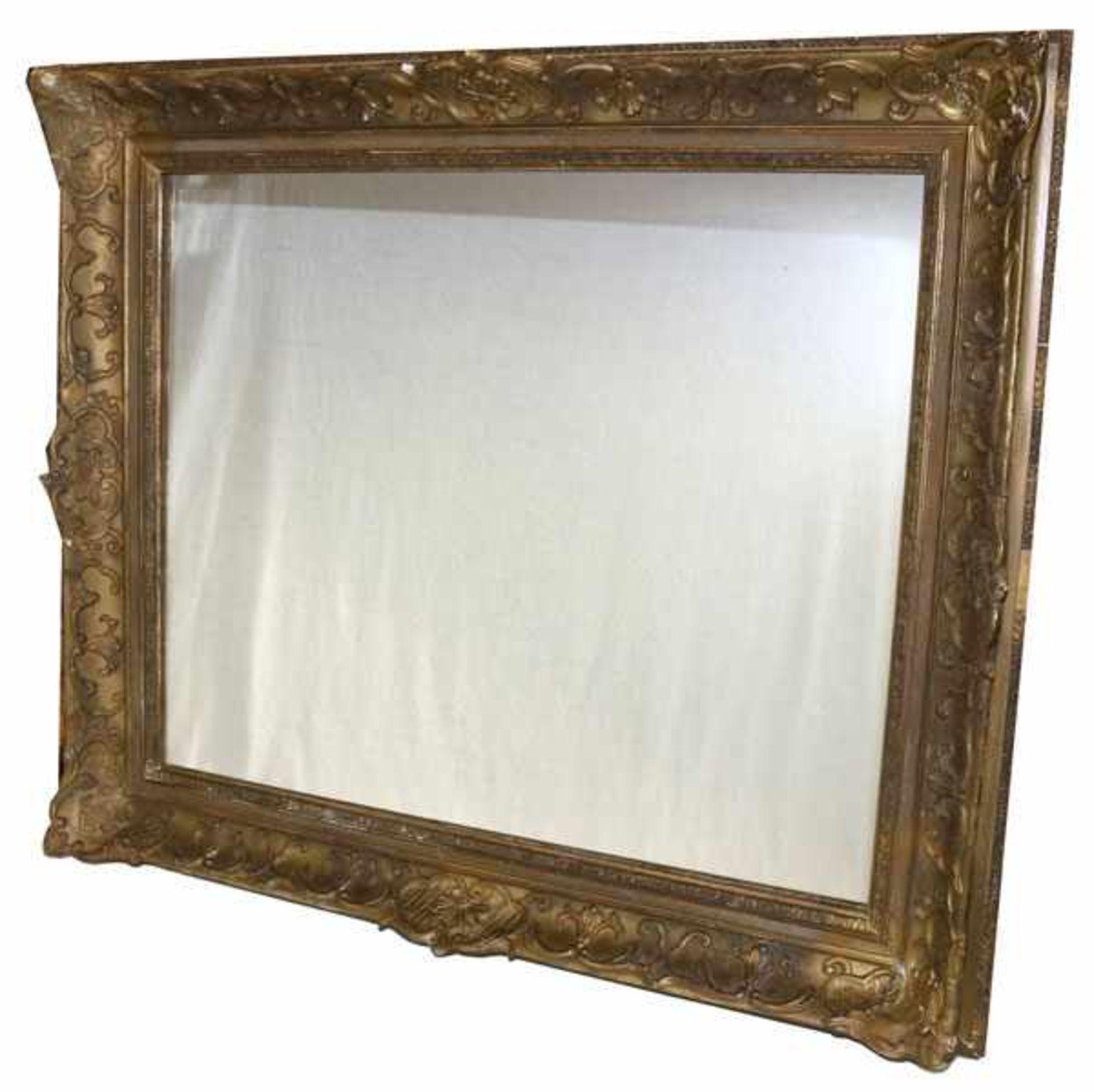 Los 154 - Wandspiegel in Goldrahmen, Rahmen bestossen und berieben, incl. Rahmen 75 cm x 86 cm