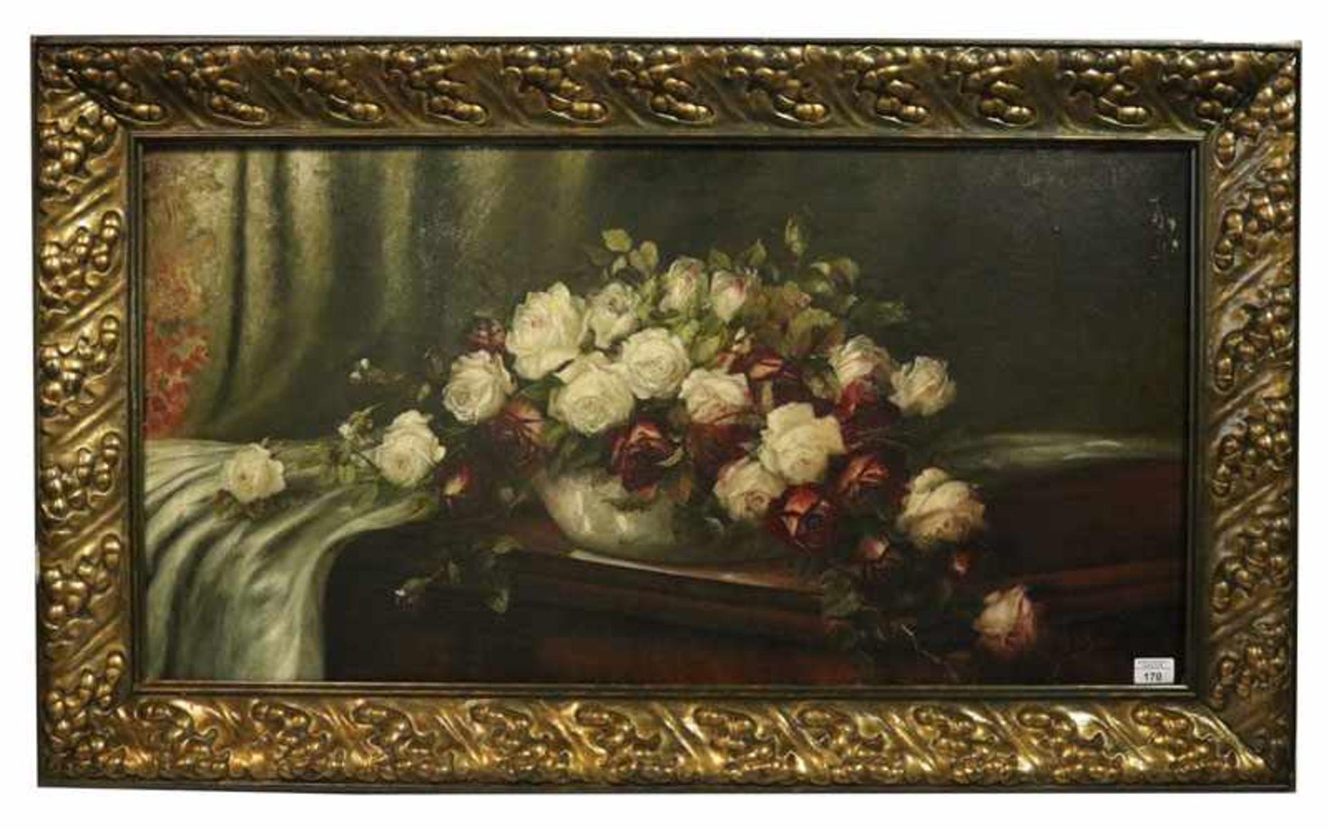 Los 170 - Gemälde ÖL/LW 'Blumenstilleben in Vase', signiert HO. Schiele,LW mit Farbablösungen, gerahmt, Rahmen