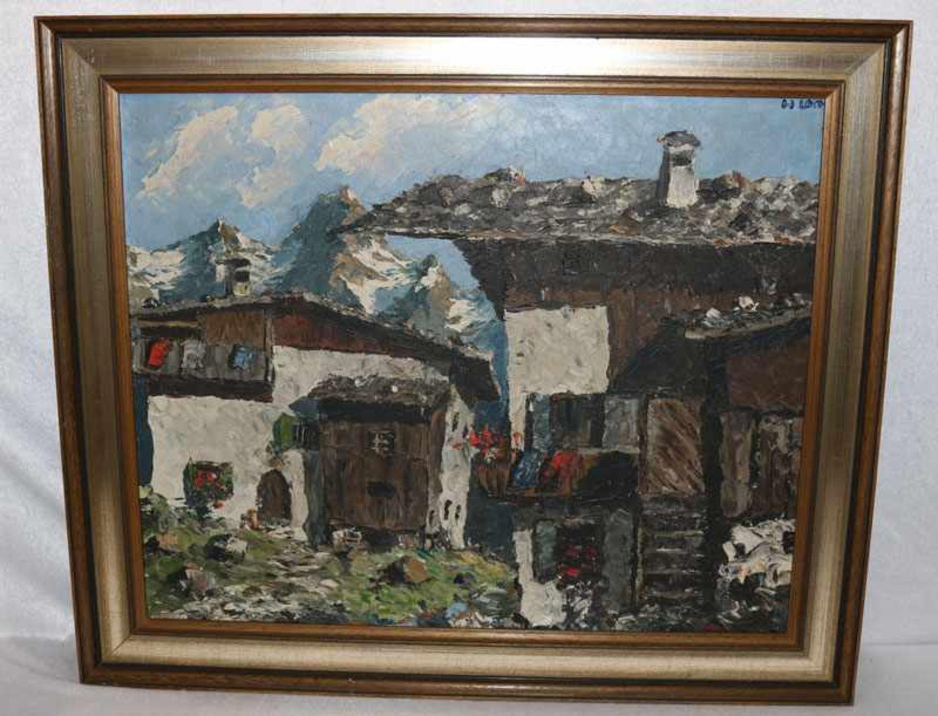 Los 126 - Gemälde ÖL/LW 'Bergbauernhof im Hochgebirge', rechts oben undeutlich signiert, in Art Mulley,