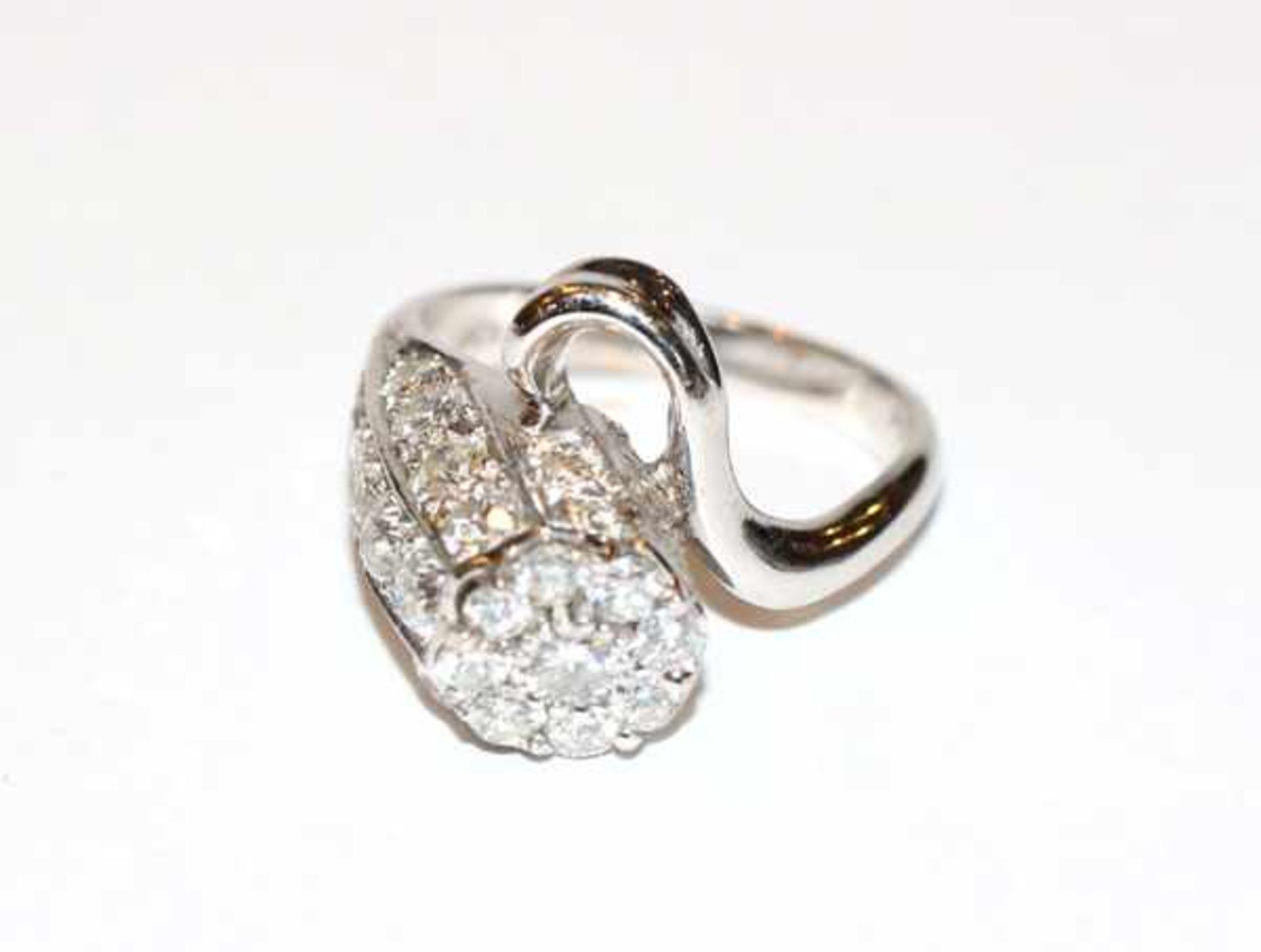 Los 94 - 18 k Weißgold Designer Ring mit ca. 3 ct. Diamanten, Gr. 61, sehr schöne Handarbeit