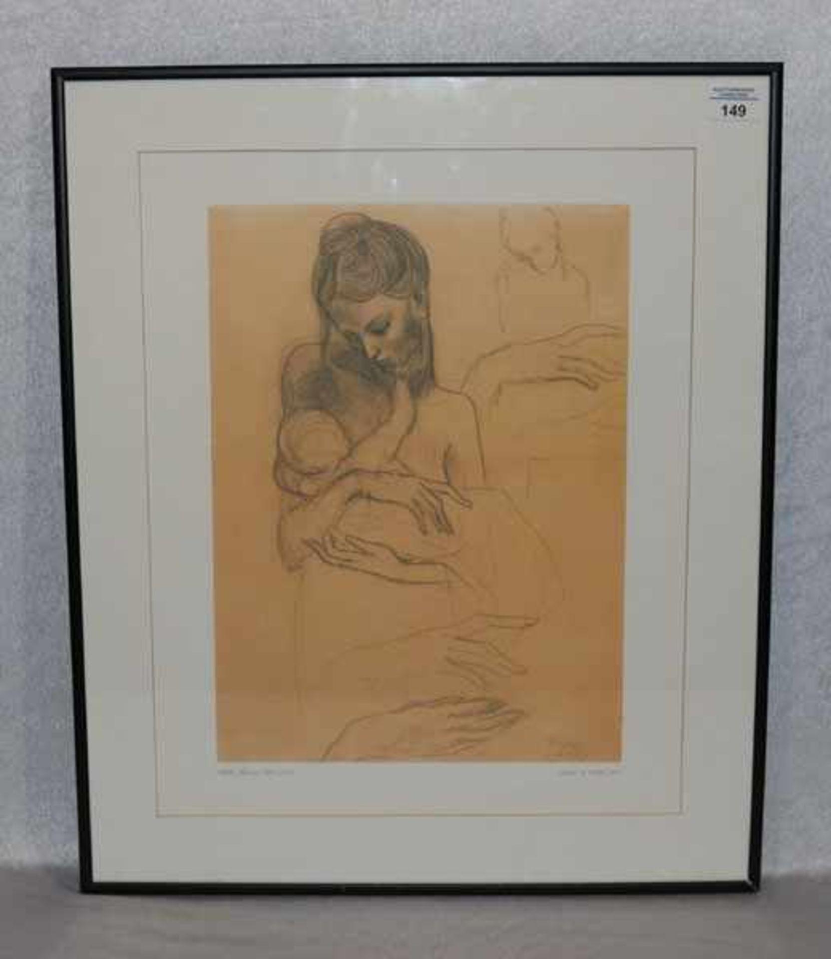 Los 149 - Druck 'Mutter und Kind', nach Picasso, mit Passepartout unter Glas gerahmt, incl. Rahmen 62 cm x