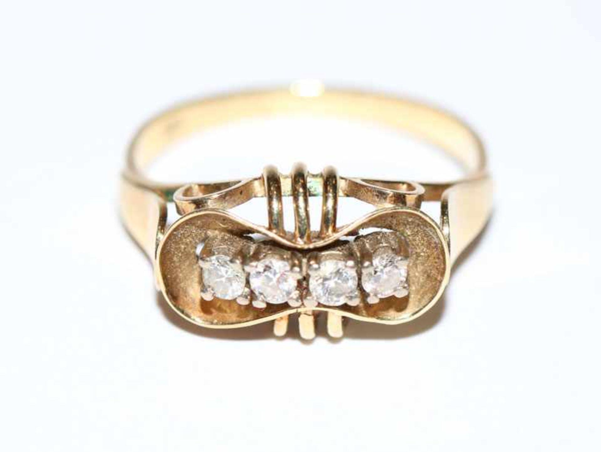 Los 4 - 14 k Gelbgold Ring mit 4 Diamanten, ältere Handarbeit, Gr. 62, 4,2 gr.