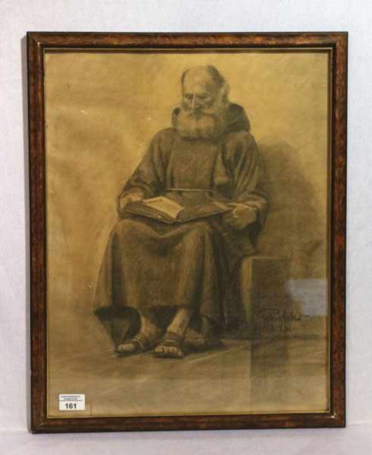 Los 161 - Zeichnung ? 'Pater beim Lesen', signiert Richter ?, datiert 4.12.23, unter Glas gerahmt, Rahmen