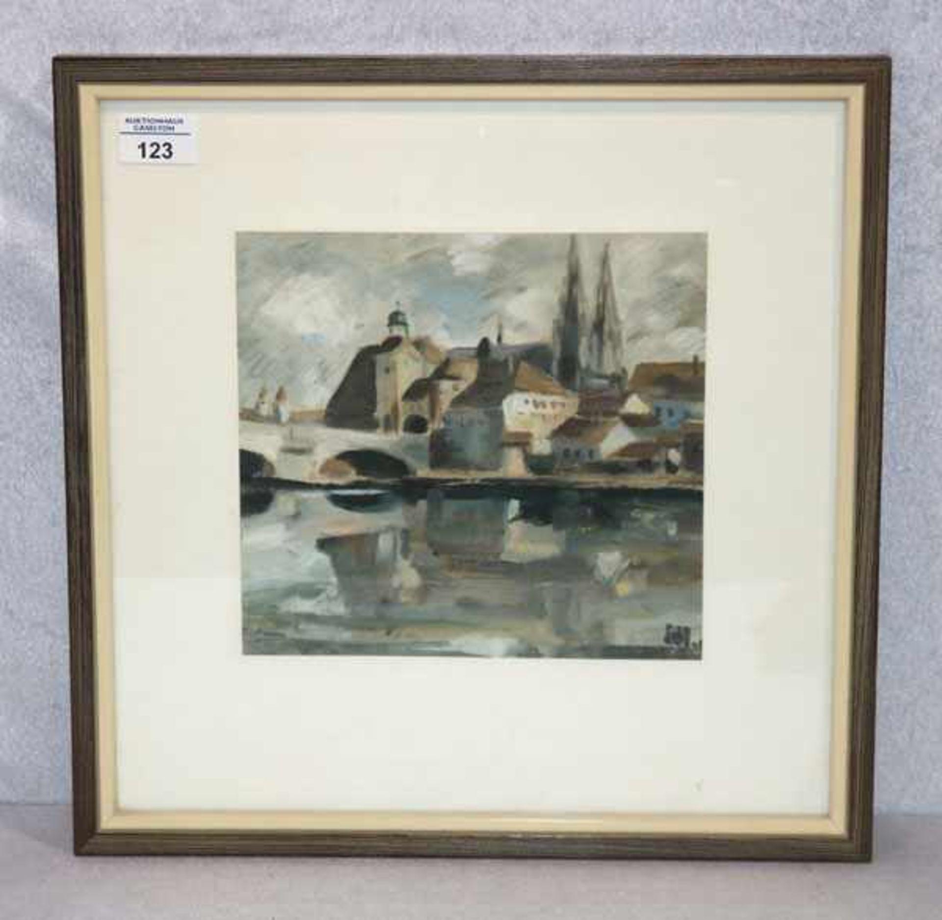 Los 123 - Ölgemälde 'Blick auf Regensburg', undeutlich monogrammiert, mit Passepartout unter Glas gerahmt,