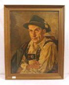 Gemälde ÖL/Malkarton 'Herrenbildnis mit Tracht', signiert G. (Gisbert) Palmie, Garmisch, * 1897