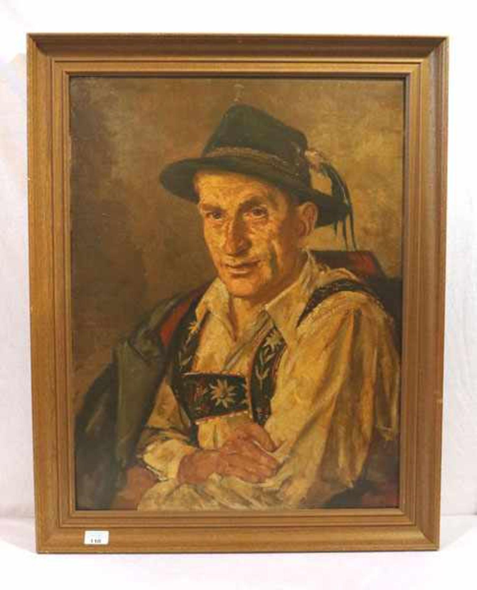 Los 110 - Gemälde ÖL/Malkarton 'Herrenbildnis mit Tracht', signiert G. (Gisbert) Palmie, Garmisch, * 1897