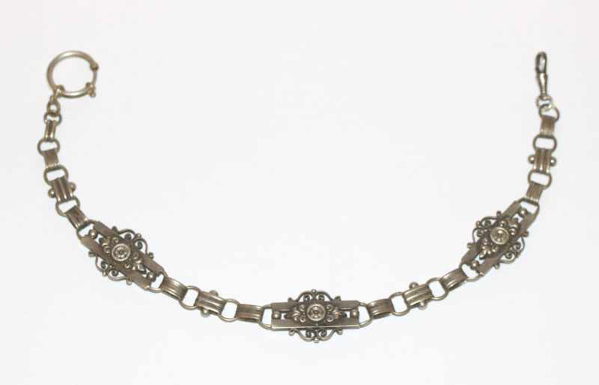 Los 16 - Silber Uhrenkette, 19. Jahrhundert, schöne Handarbeit, L 33 cm