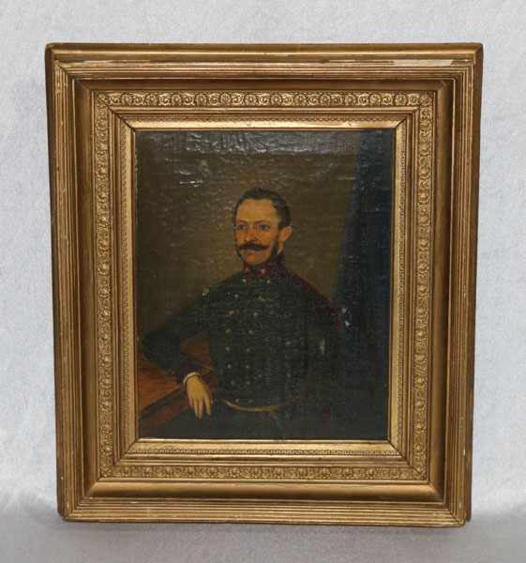 Los 165 - Gemälde ÖL/LW 'Bildnis eines Offiziers', LW beschädigt und Farbablösungen, gerahmt, Rahmen