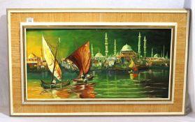 Gemälde ÖL/LW 'Stadtansicht von Istanbul', signiert H. Kilk 1968, gerahmt, Rahmen bestossen, incl.