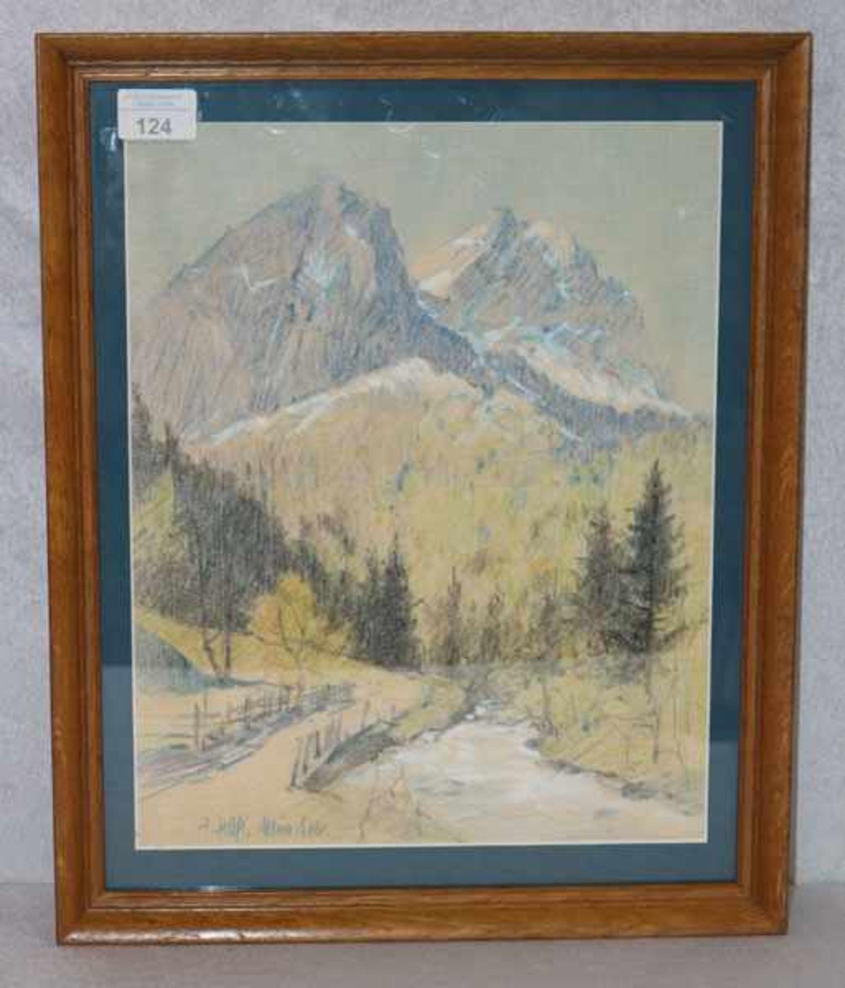 Los 124 - Gemälde Mischtechnik 'Waxensteine mit Bachlauf', signiert F. Hass, München, * 1902 München + 1994,