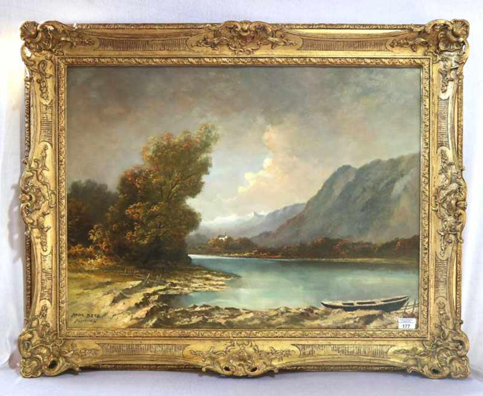 Los 177 - Gemälde ÖL/LW 'Gebirgslandschaft mit See und Ruderboot', signiert Andr. (Andreas) Betz, München, *