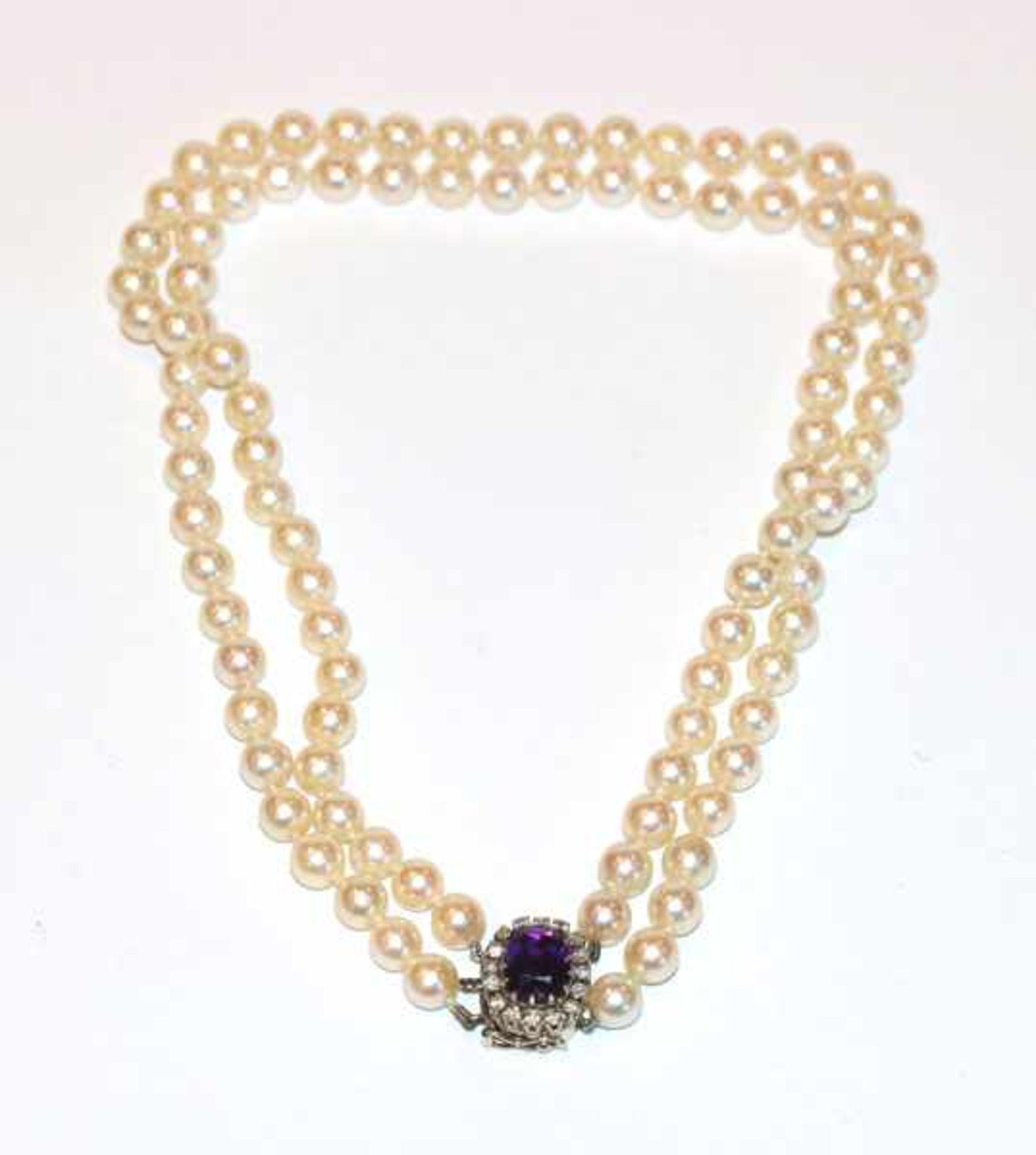 Los 95 - Perlencollier, 2-reihig, 14 k Weißgold Schließe mit Amethyst und Diamantrand, L 34 cm