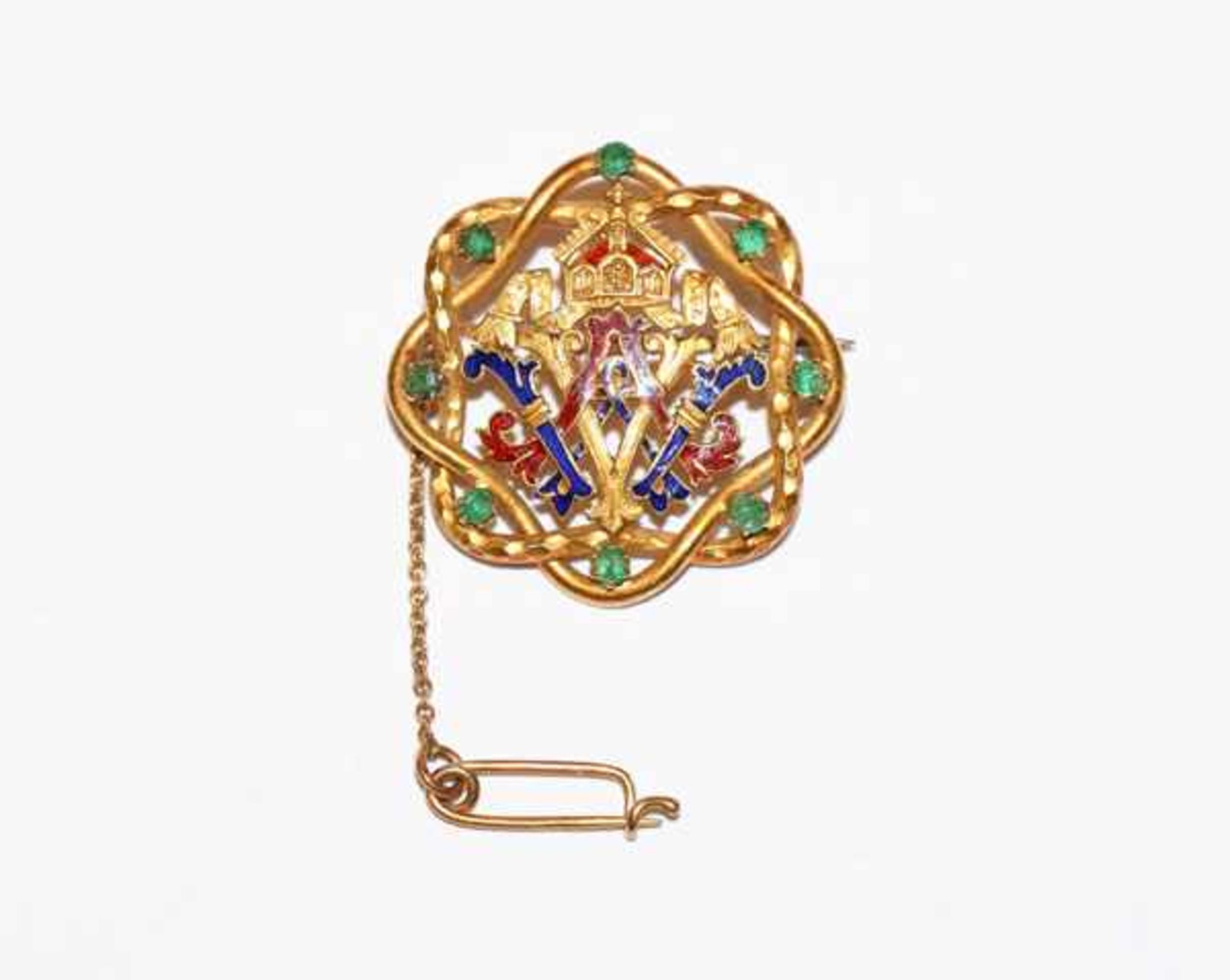 Los 77 - Dekorative 14 k Gelbgold Brosche 'Kaiserbrosche', teils blau/rot emailliert und mit 8 Smaragden