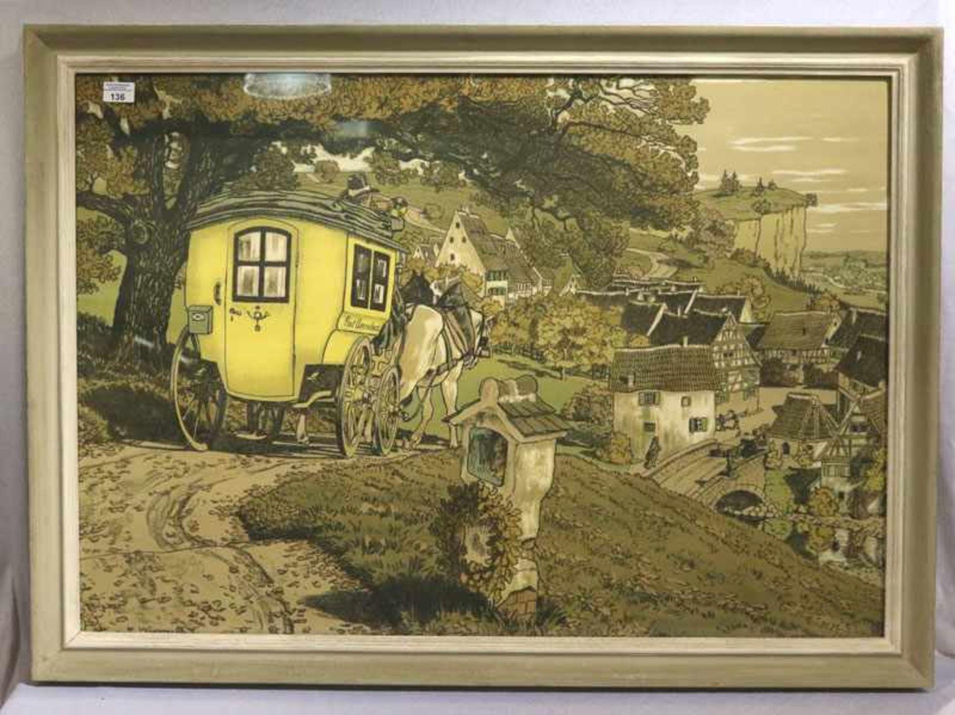 Los 136 - Druck 'Landschafts-Szenerie mit Postkutsche', in der Platte signiert W. Gerog i. Ob. ?, unter Glas