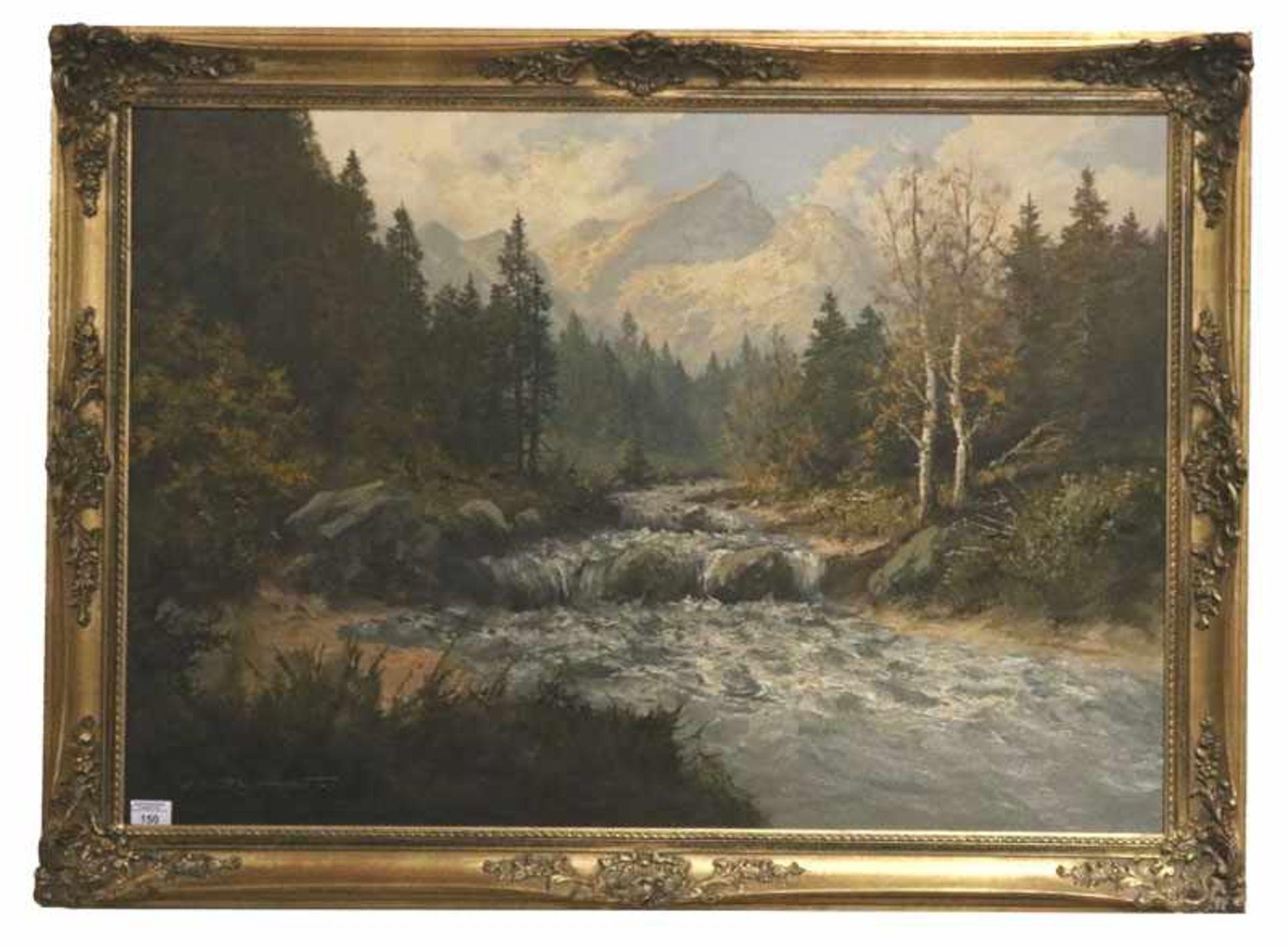 Los 150 - Gemälde ÖL/LW 'Loisach mit Blick zur Alpspitze', signiert J. H. Thomas, * 1922 Dresden, Ausbildung