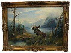 Gemälde ÖL/LW 'Gebirgslandschaft mit Elch', signiert H. Schiele, gerahmt, Rahmen bestossen, incl.