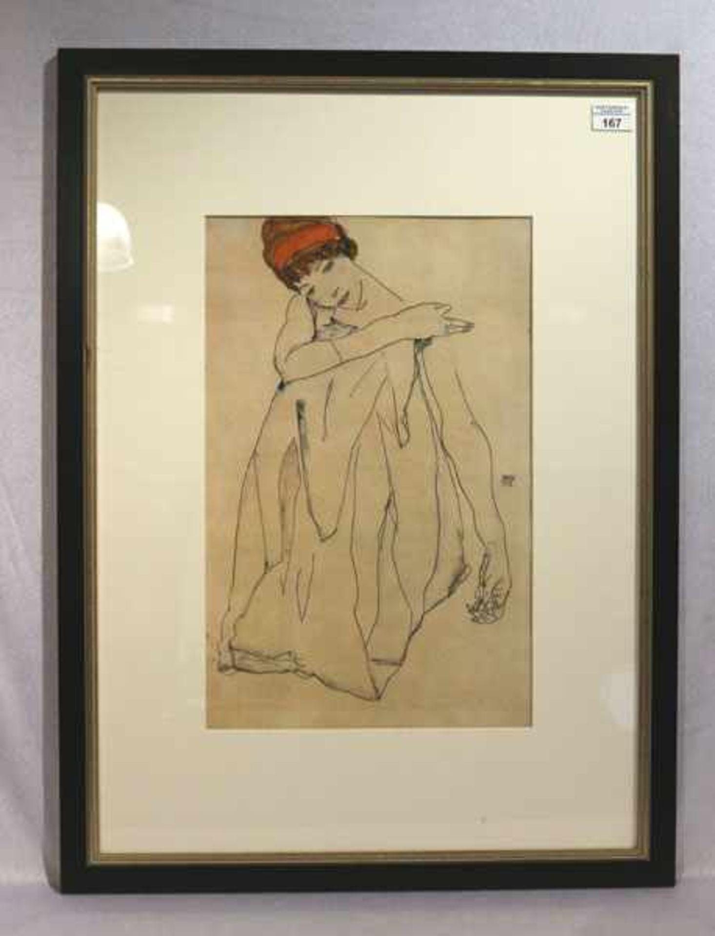 Los 167 - Druck 'Damenbildnis', nach Egon Schiele, 1913, mit Passepartout unter Glas gerahmt, Rahmen leicht