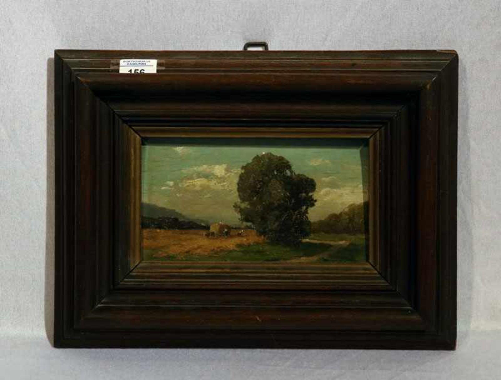 Los 156 - Gemälde ÖL/Malkarton ' Heuernte in Voralpenlandschaft', signiert Mühlbeck, Josef, 1878 Simbach am