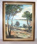 Gemälde ÖL/LW 'Bäume am Seeufer', undeutlich signiert, gerahmt Rahmen leicht bestossen, incl. Rahmen