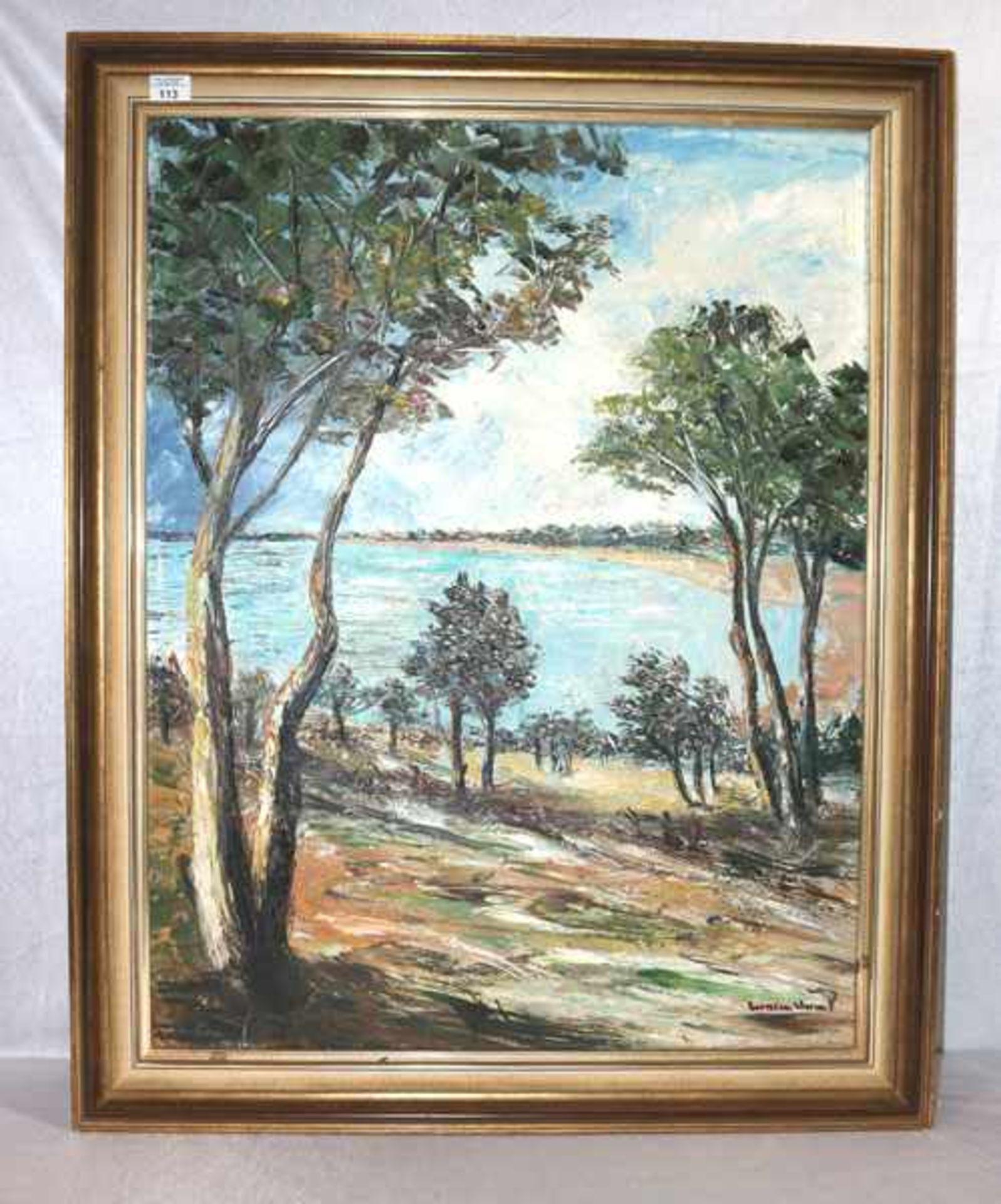 Los 113 - Gemälde ÖL/LW 'Bäume am Seeufer', undeutlich signiert, gerahmt Rahmen leicht bestossen, incl. Rahmen