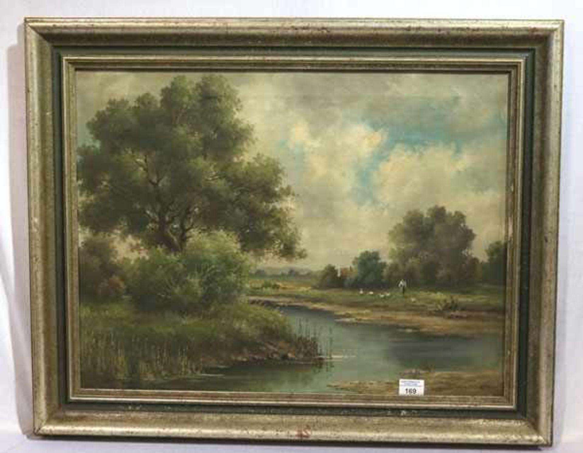 Los 169 - Gemälde ÖL/LW 'Landschafts-Szenerie mit Bachlauf', signiert Klem. Werner, München 1933, gerahmt,