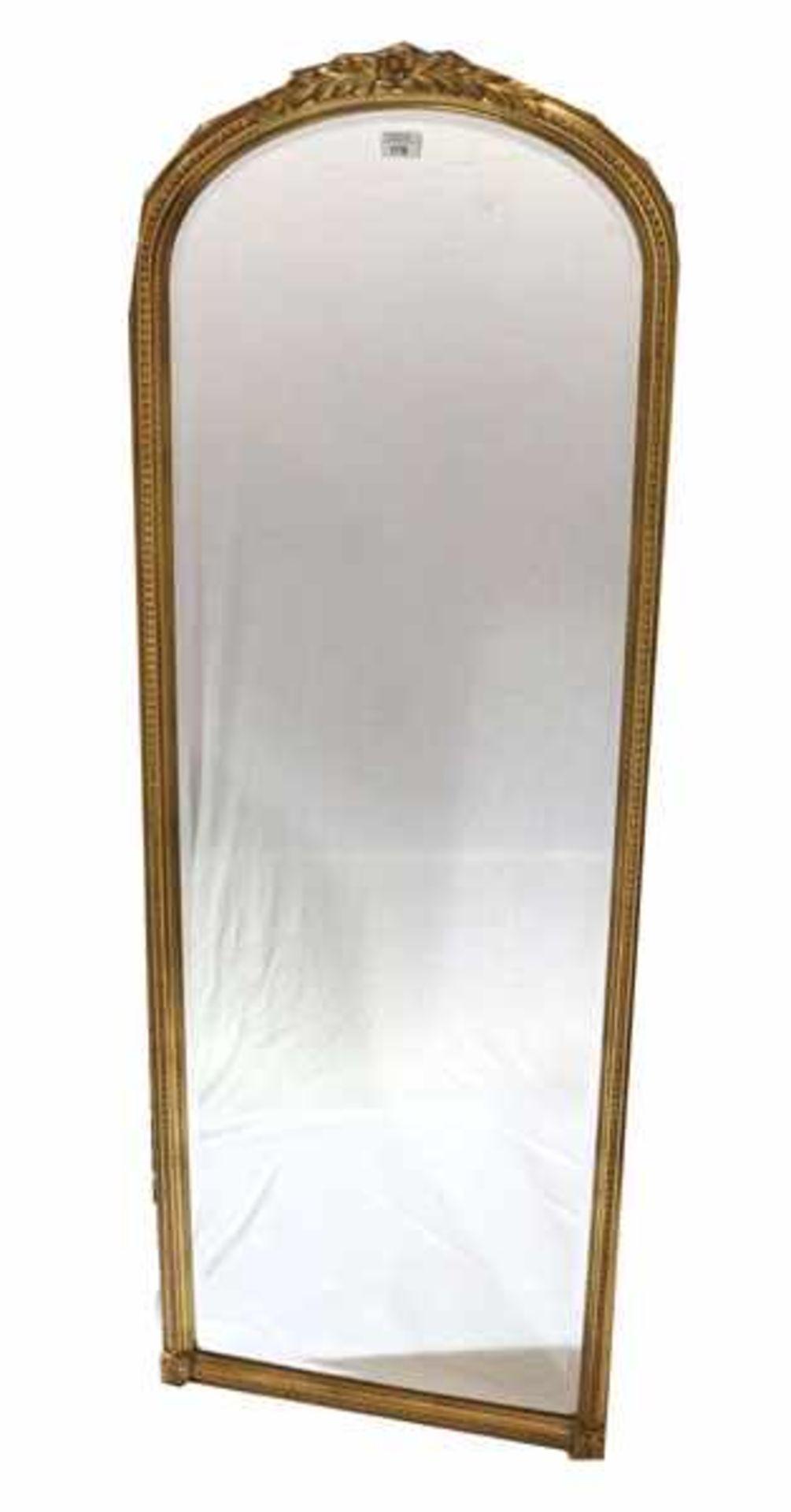 Los 176 - Wandspiegel mit Facettenschliff, Reliefdekor, H 153 cm, B 56 cm