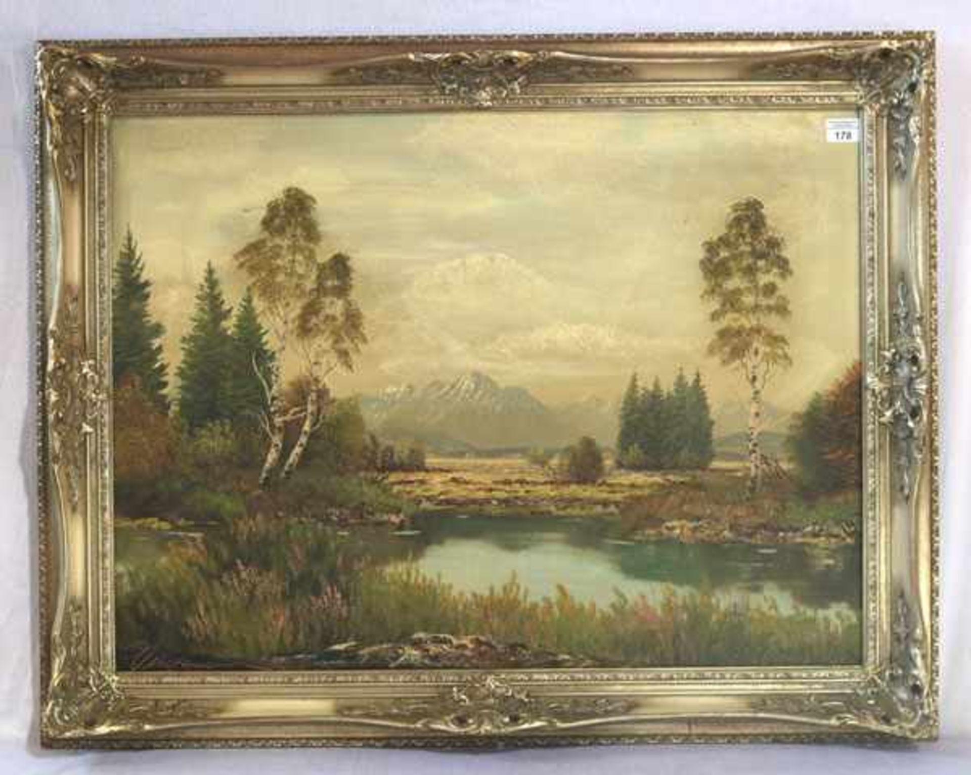 Los 178 - Gemälde ÖL/LW 'Moorlandschaft bei Bad Aibling', signiert Wiedemann, Münchner Landschaftsmaler,