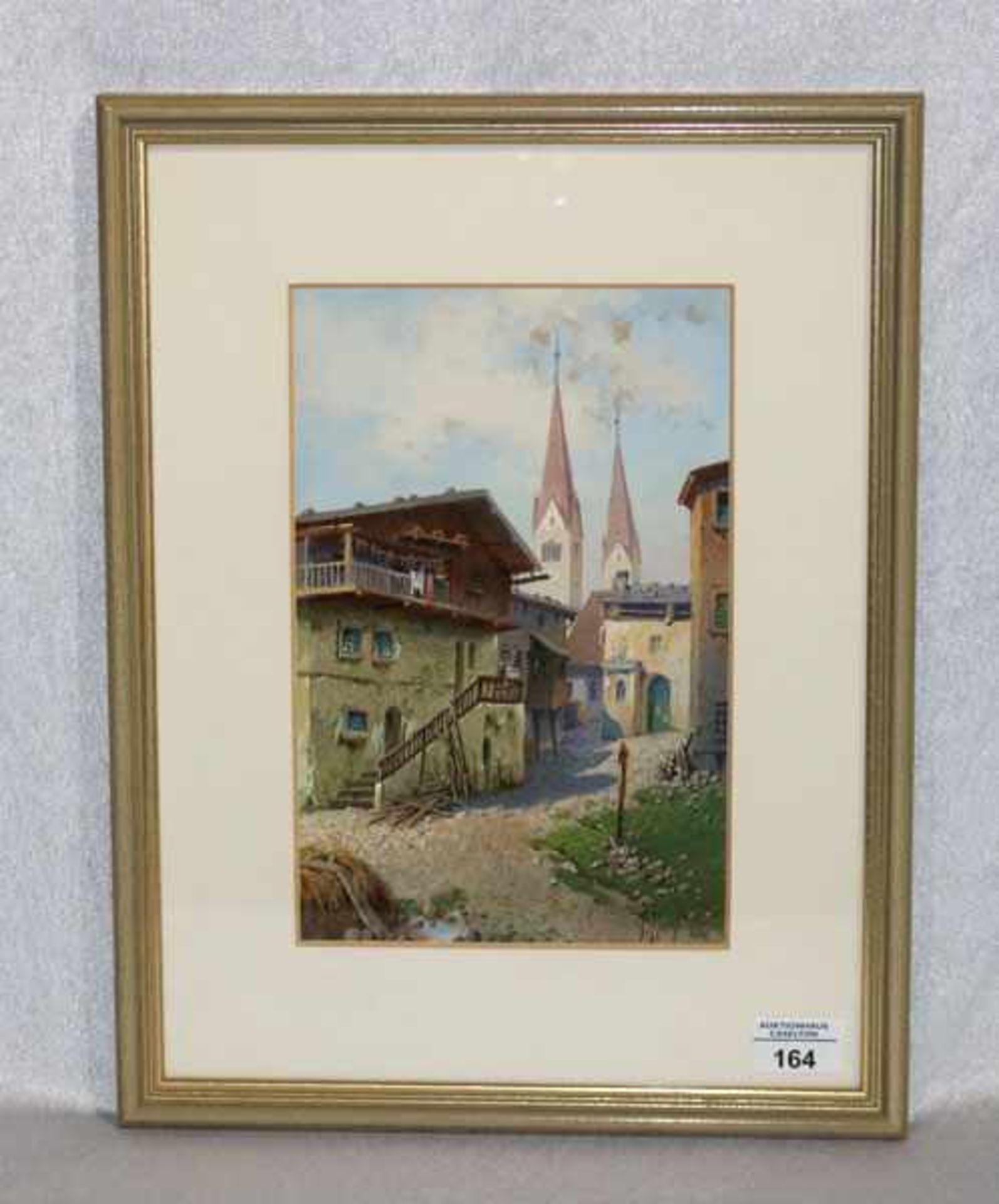 Los 164 - Aquarell 'Dorfansicht', signiert F. Hollfelder, datiert 1940, deutscher Maler, mit Passepartout