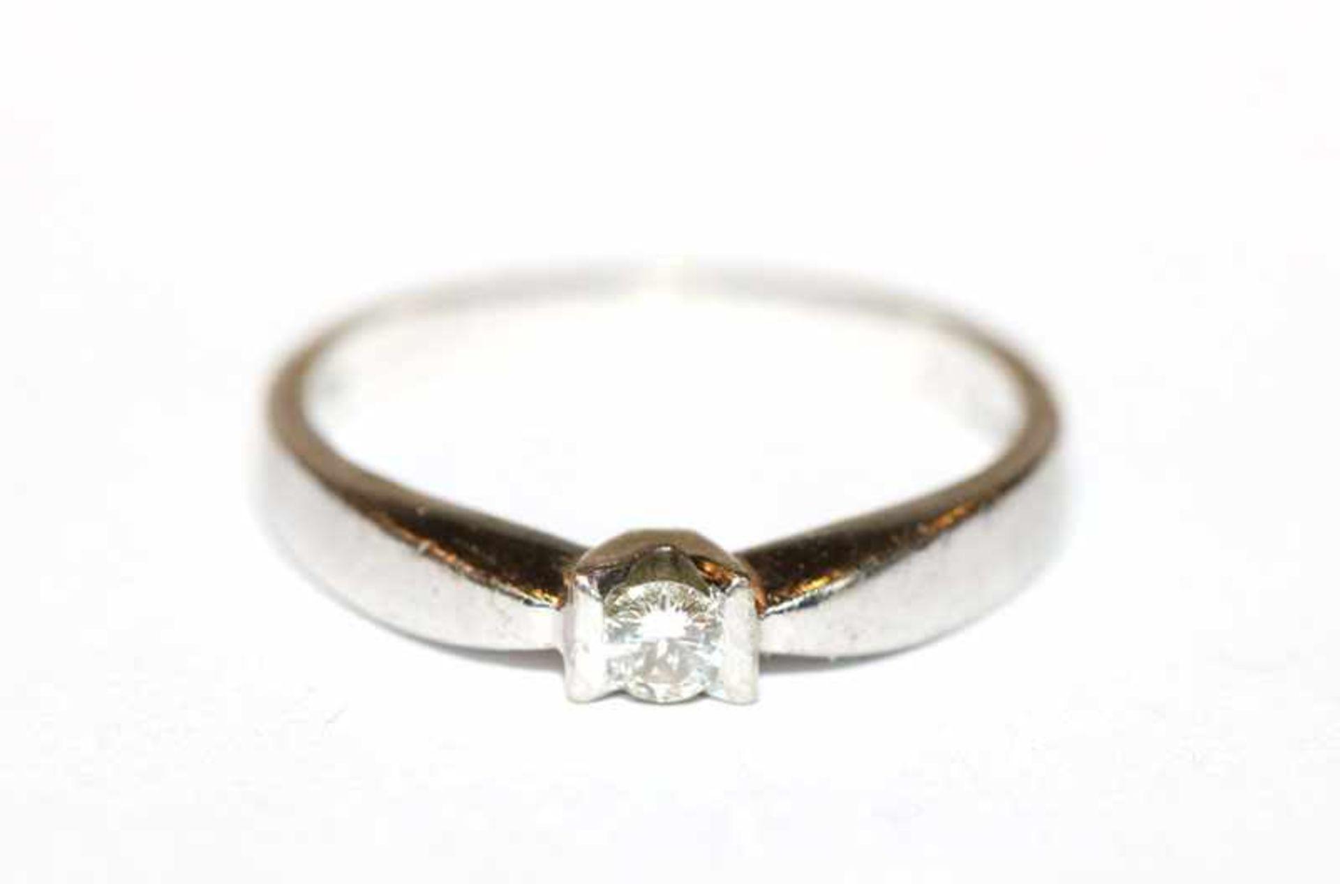 Los 72 - 18 k Weißgold Ring mit Diamant, 0,09 ct., 3 gr., Gr. 52