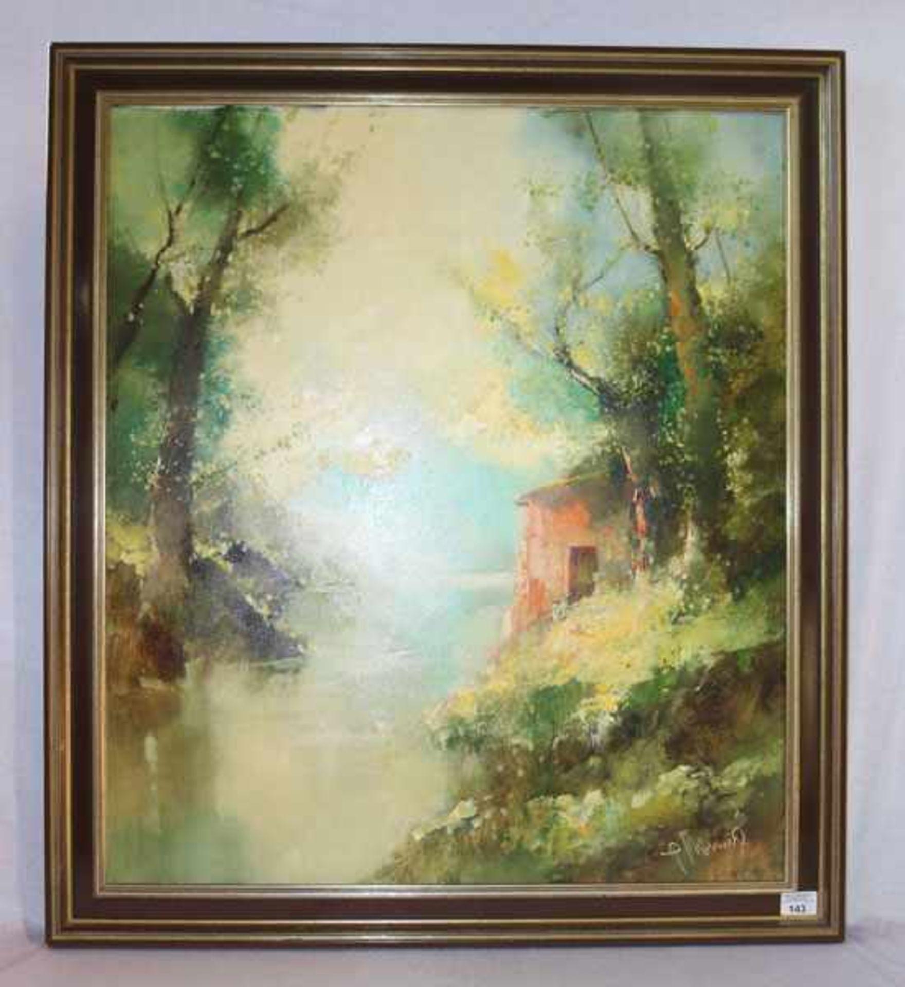 Los 143 - Gemälde ÖL/LW 'Landschafts-Szenerie mit Haus am See', signiert P. Morrò, (Ingfried Henze) + 1925