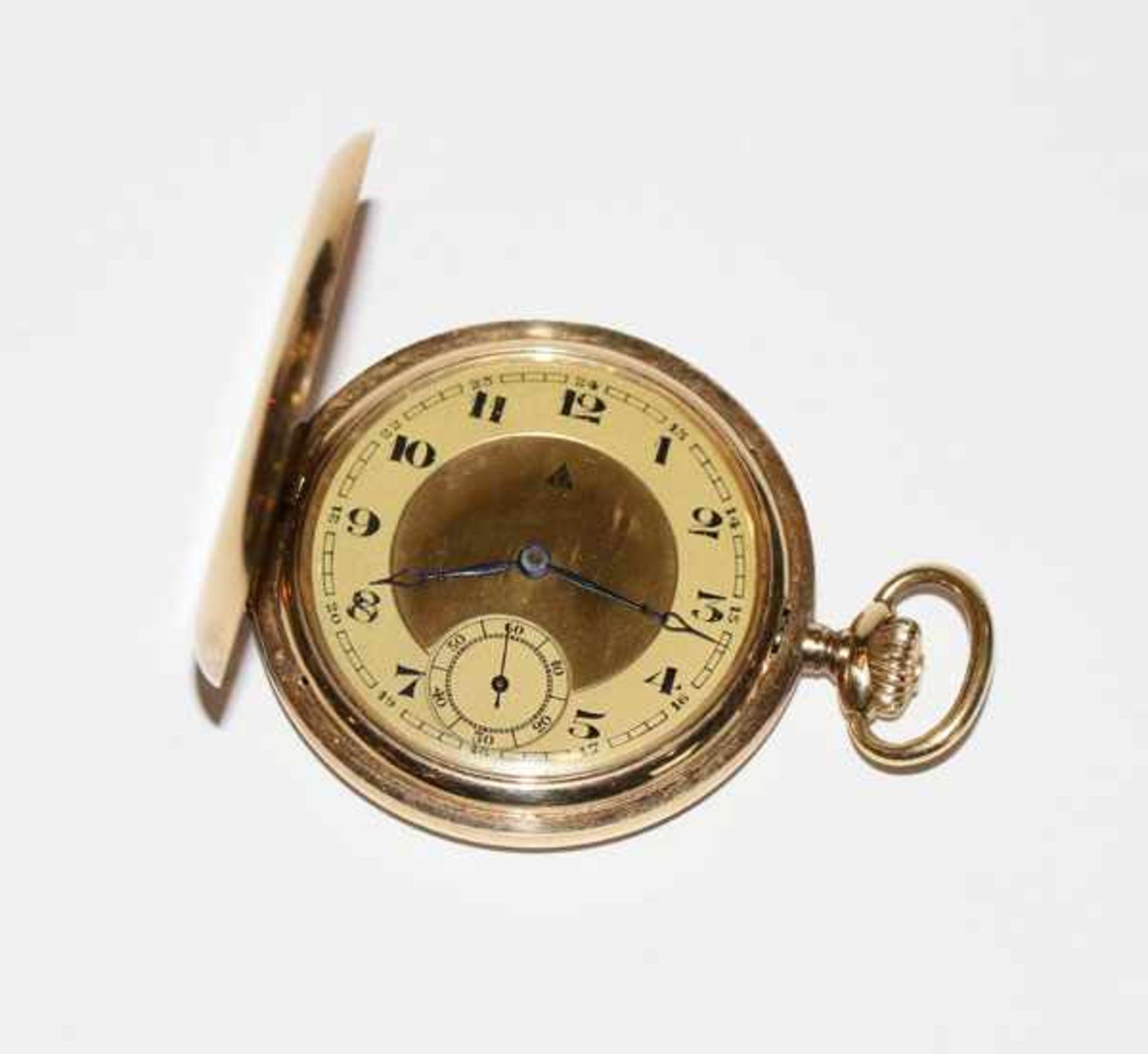 Los 22 - 14 k Gelbgold Sprungdeckel Taschenuhr, Deckelfeder fehlt, Monogrammgravur RR, intakt, komplett 83