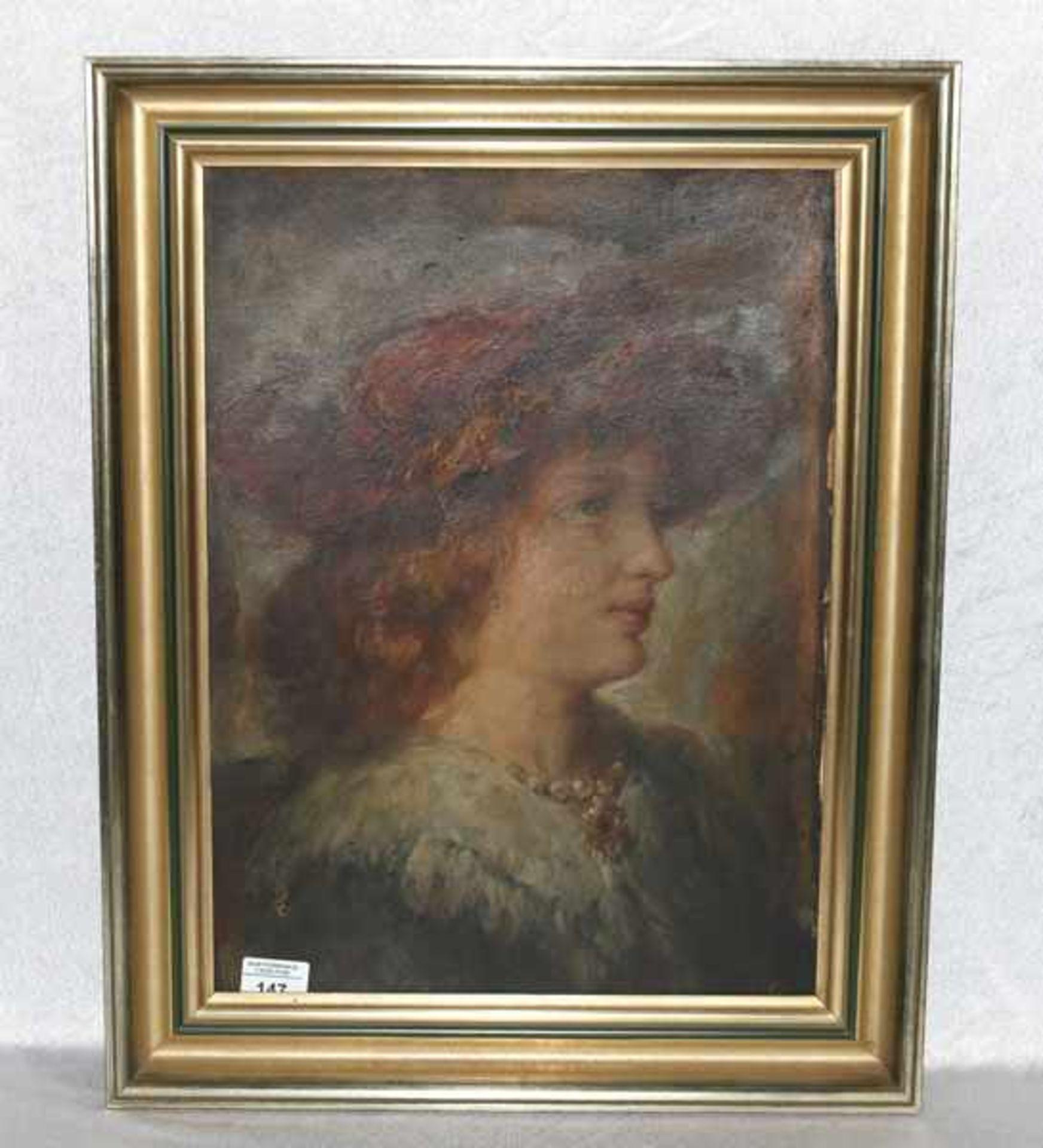 Los 147 - Gemälde ÖL/Malkarton 'Damenbildnis', Bildoberfläche leicht beschädigt, gerahmt, incl. Rahmen 59 cm x